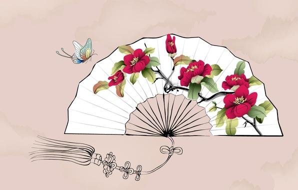 Picture flowers, butterfly, fan, art, watercolor