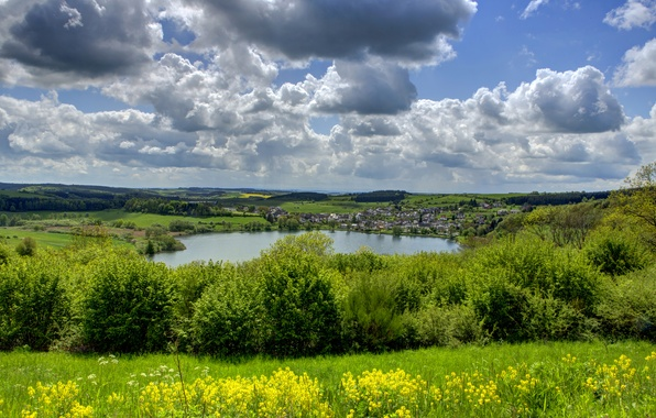Picture greens, the sky, grass, clouds, lake, field, home, Germany, village, the bushes, Ellscheid