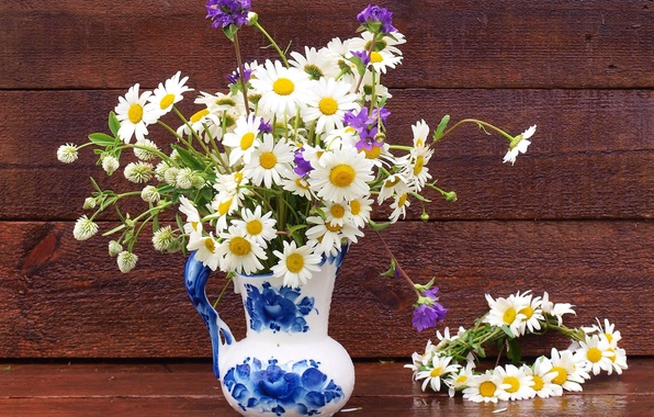 Picture chamomile, pitcher, wreath, wildflowers