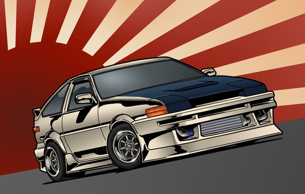 Picture Japan, art, Toyota, front, Toyota, AE86, stance, JDM, Corolla