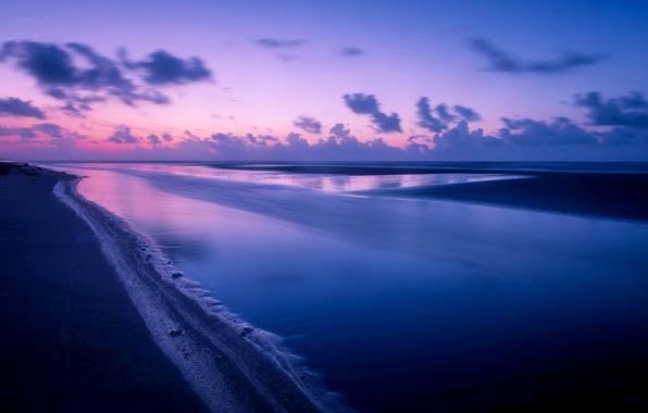 Picture sea, landscape, night