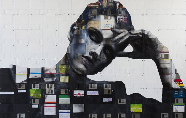 Picture girl, style, portrait, art, floppy, floppy art, Nick Gentry, Nick Gentry, floppy-art