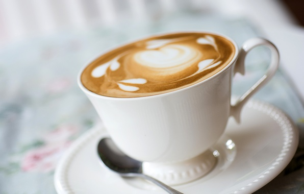 Picture foam, pattern, coffee, milk, spoon, Cup, drink, cappuccino, saucer