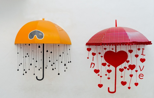 Photo Wallpaper Yellow Red Umbrella Background Widescreen Mood
