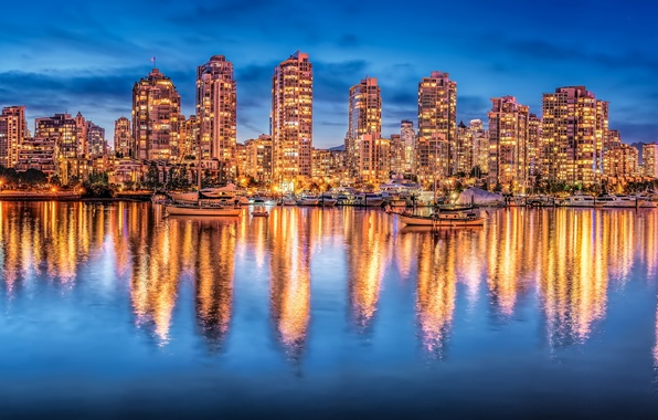 Picture reflection, building, yachts, Canada, panorama, Vancouver, Canada, night city, British Columbia, Vancouver, British Columbia, Bay …