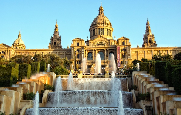 Photo wallpaper the sky, water, Museum, Spain, cascade, Palace, Barcelona