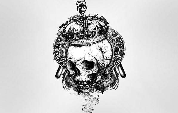 Picture style, skull, crown, sake