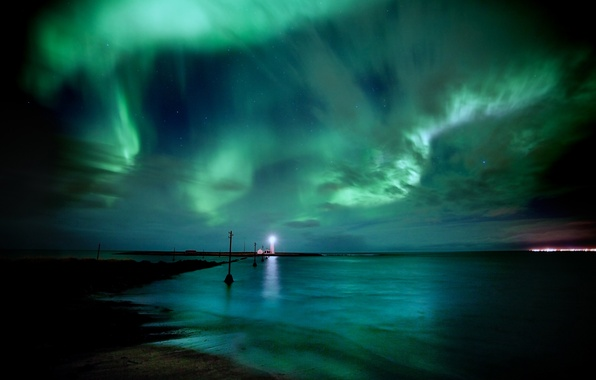 Picture sea, the sky, water, stars, night, lighthouse, Northern lights, Iceland