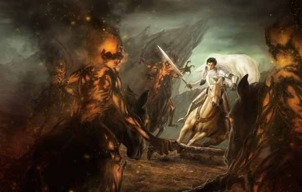 Picture fire, horse, sword, art, rider, guy, demons, in white