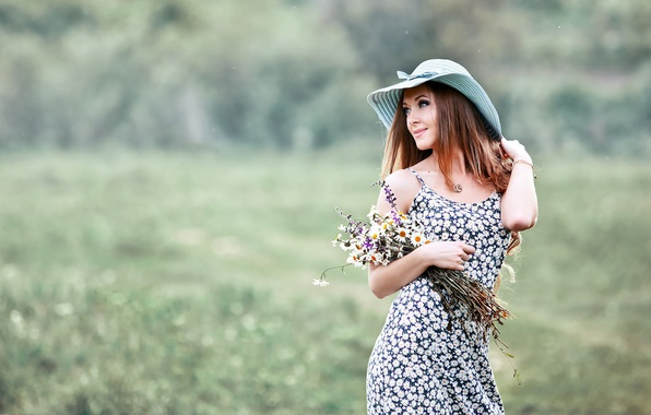 Picture girl, flowers, hat