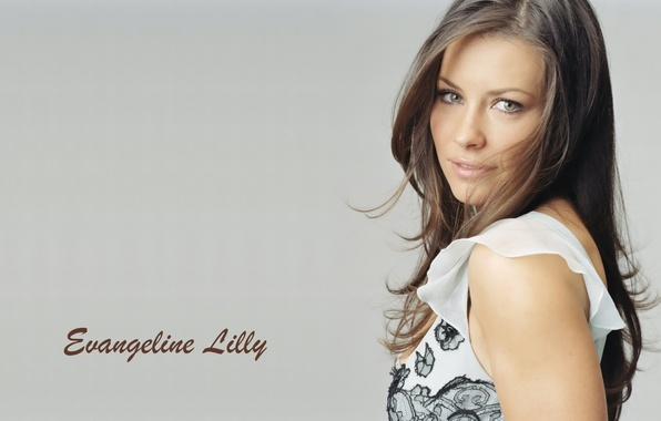 Picture look, girl, face, background, the inscription, hair, actress, beauty, Evangeline Lilly, Evangeline Lilly