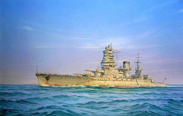 Picture sea, figure, art, ship of the line, WW2, The Navy of Japan, type Nagato