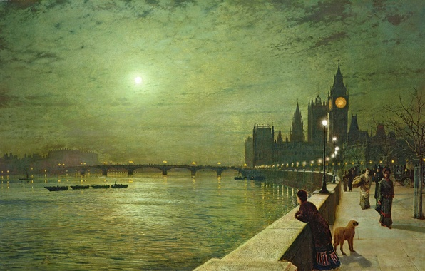 Picture night, bridge, river, people, the moon, London, tower, dog, picture, boats, lights, Big Ben, promenade, …