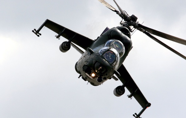 Photo wallpaper Photo, Flight, The sky, Helicopter, Transport-Combat, Mi-24, Height