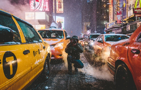 Photo wallpaper cars, Times Square, winter, Manhattan, taxi, New York, United States Of America, neon, street, male, ...