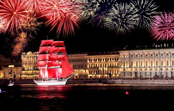 Picture sailboat, Peter, Saint Petersburg, frigate, scarlet sails