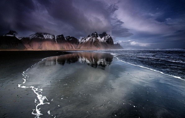 Picture beach, mountains, Iceland, black sand