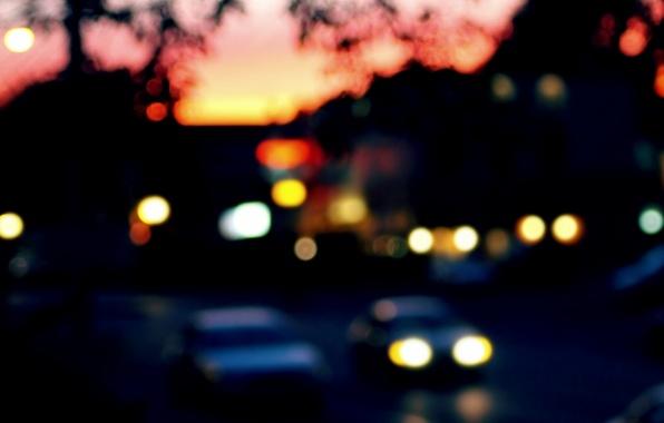 Picture car, machine, macro, the city, lights, background, widescreen, Wallpaper, street, blur, the evening, blur, wallpaper, …