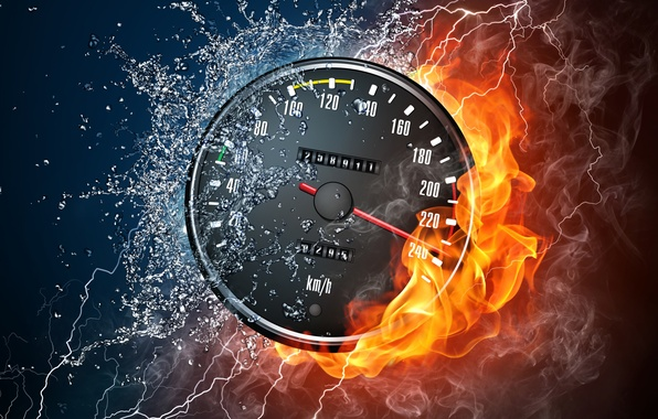 Picture water, drops, squirt, style, fire, flame, smoke, speed, category, Speedometer