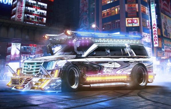 Picture Cadillac, Escalade, Tuning, Future, SUV, Chrome, by Khyzyl Saleem