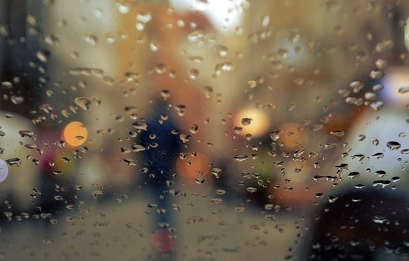 Picture autumn, glass, drops, the city, lights, rain, people, silhouette, bokeh