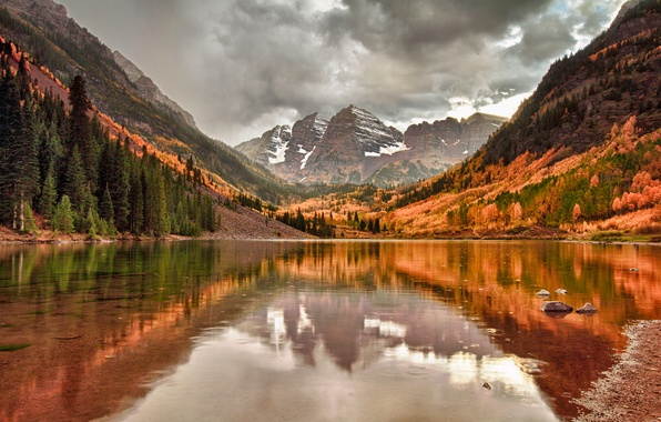 Picture autumn, the sky, clouds, mountains, lake, reflection, rocks