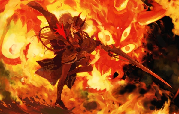 Picture girl, weapons, fire, anime, art, fate grand order