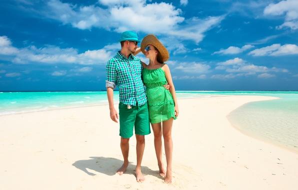 Picture sea, beach, tropics, Palma, pair, walk