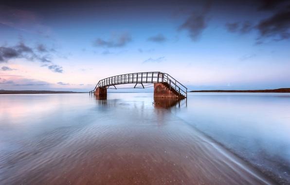Picture sea, the sky, clouds, clouds, bridge, shore, the evening, Scotland, UK