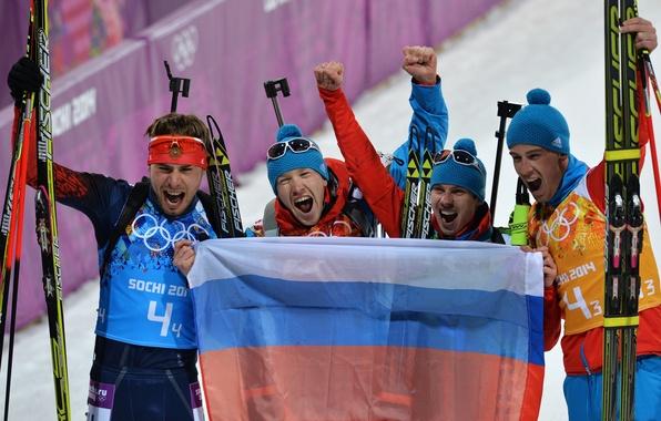 Picture Russia, Sochi 2014, The XXII Winter Olympic Games, Anton Shipulin, Biathlon relay, Evgeny Ustyugov, Alexey …