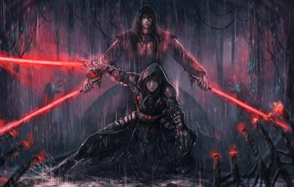 Wallpaper Girl Rain Art Star Wars Guy Lightsaber The