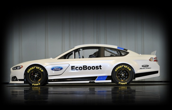 Picture Ford, Reflection, White, Side view, Nascar