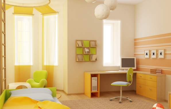 Picture computer, design, style, table, background, room, the ball, books, Windows, bed, interior, chair, apartment, green, …