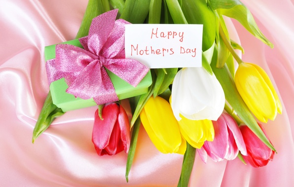 Picture flowers, gift, tape, tulips, colorful, congratulations, mother's day