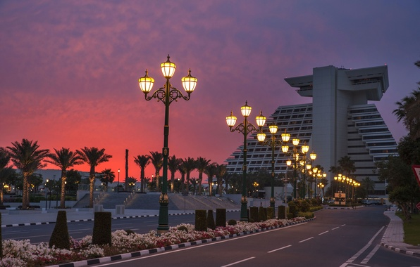 Wallpaper Road Sunset Design Lights Palm Trees The