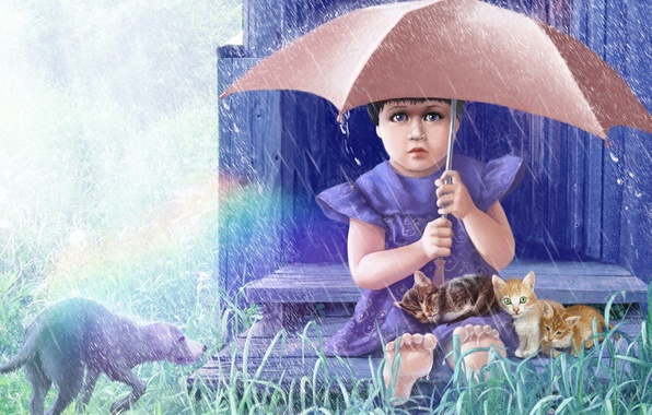 Picture animals, grass, rain, figure, dog, umbrella, girl, kittens