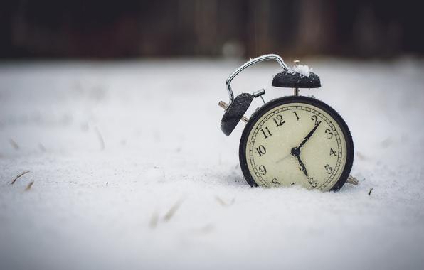 Picture winter, snow, watch, alarm clock, figures, dial