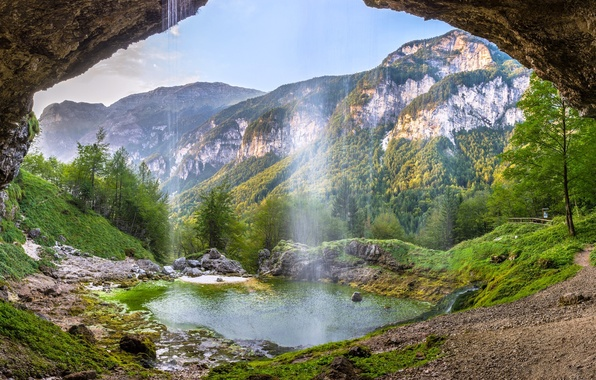 """Picture mountains, waterfall, valley, Alps, Italy, Italy, Alps, Friuli Venezia Giulia, Friuli — Venezia Giulia, """"Fontanon …"""