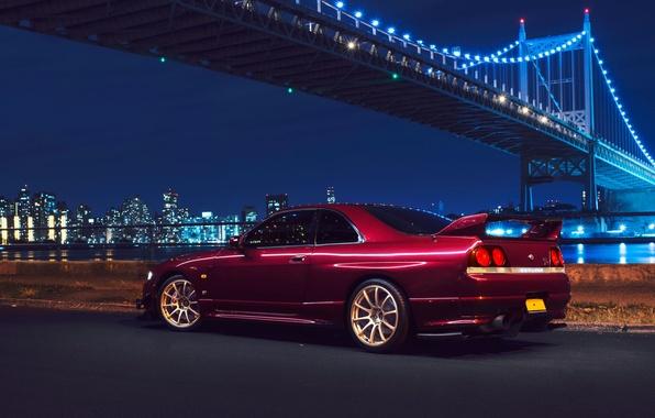 Picture Nissan, Car, Bridge, New York, NYC, Skyline, Sport, R33, Rear, Nigth, Chery