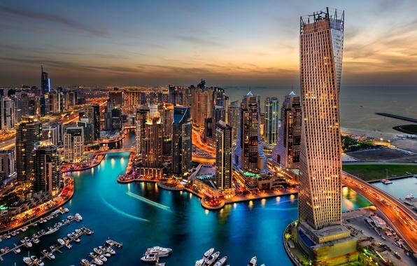 Picture city, lights, Dubai, Dubai, night, hotel, skyscrapers, building, harbour, travel, splendor, arab emirates