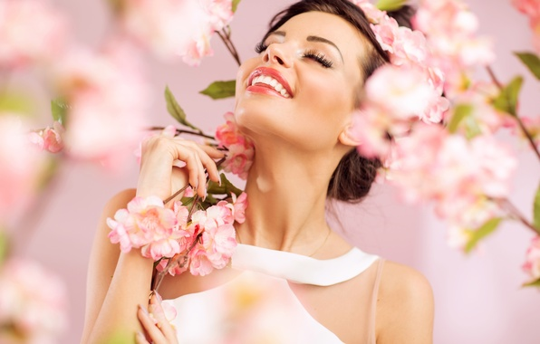 Picture eyes, flowers, face, woman, Girls