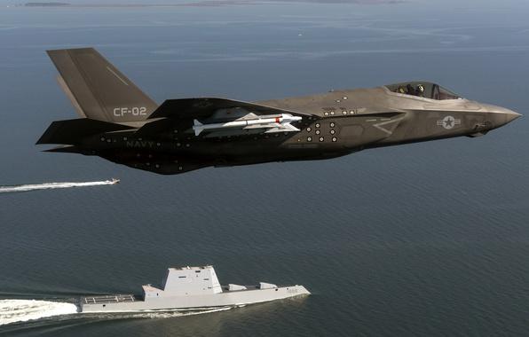 Picture weapons, army, USA, USS Zumwalt (DDG 1000), F-35 Lightning