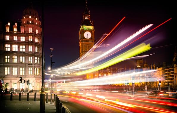 Picture road, machine, night, the city, lights, England, London, building, excerpt, lighting, UK, Big Ben, architecture, …