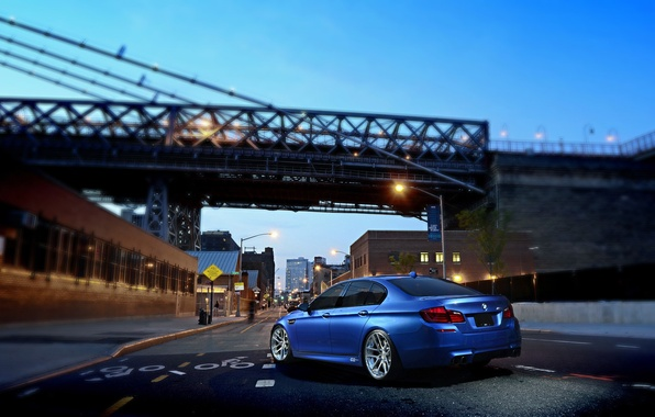 Picture BMW, Blue, Glow, Bridge, Lights, Night, street, Tuning, F10, Road, Sedan, 5 Series, Wheels, Traffic