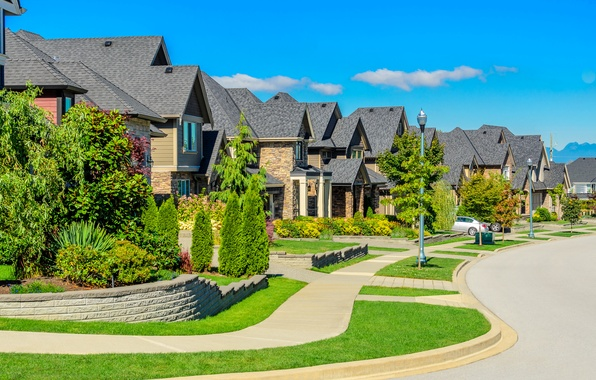 Picture street, home, lights, lawns, mansions