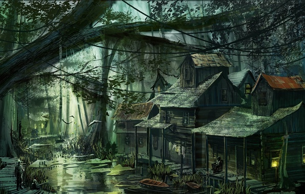 Picture forest, people, swamp, home, village, art, buildings