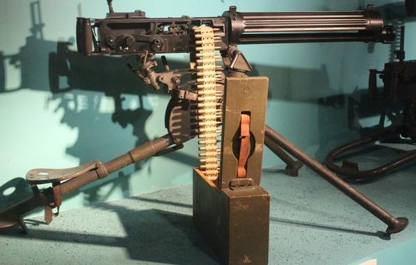 Picture weapons, machine gun, easel, 1915, Vickers MG