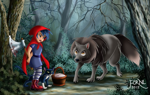 Photo wallpaper forest, cat, cat, basket, blood, wolf, little red riding hood, art, girl, axe, basket, Red ...