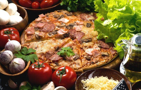 Picture mushrooms, oil, cheese, pizza, tomatoes, salad, garlic, ham