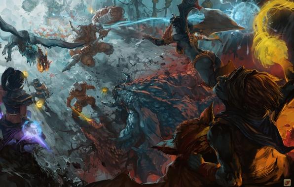 Picture art, battle, heroes, dota, characters, fan art, dota 2, mob